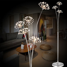 Modern Simple LED Floor Lamp Living Room Bedroom Crystal lamp Wedding Dress Shop Floor Lamp Study Dandelion Light Free Shipping(China)