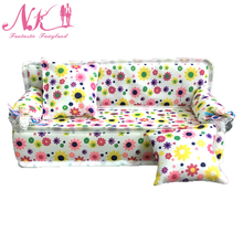 NK Doll Accessories Cute Dollhouse Furniture Flower Cloth Sofa Couch With 2 Cushions For Barbie Doll House Toys Best Gift
