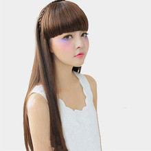 Fashion Natural Black/brown Braided Bangs With Headband Design Women Fake Fringe Hair Extensions Synthetic Hairpieces