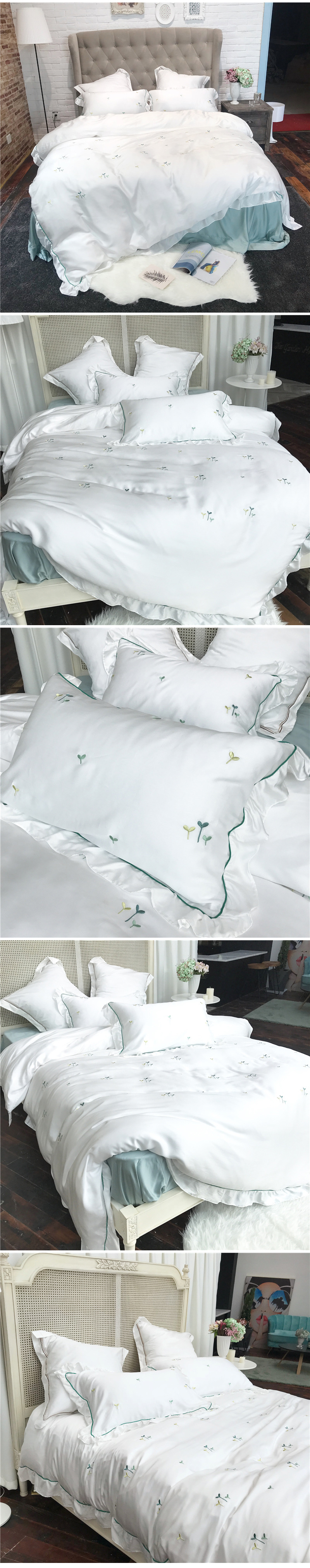 2018 comforter bedding sets 60s tencel coon coon bed sheets small fresh embroidery wedding bed cover housse de couee 3