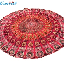 Ouneed Red High Quality Table Cover Table Cloth Happy Gifts Chiffon Fondos De Pantalla Round Beach Pool Home Blanket Yoga Mat