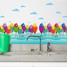 Colorful Fish Lovely Wall Sticker Mural Removable Waterproof Decorative Wall Corner Decals Kid's Living Room Bathroom Decoration