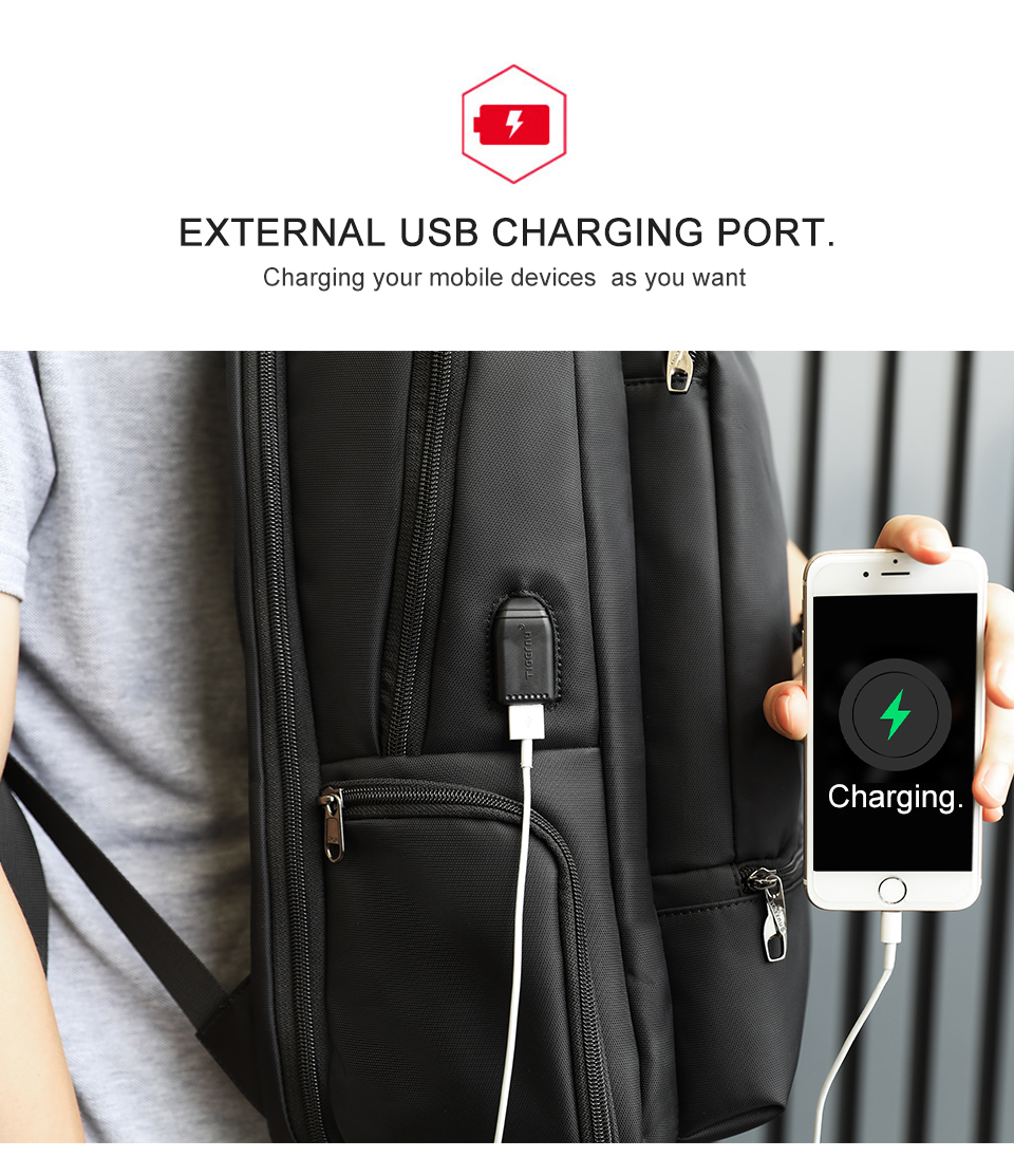 3.USB charging black backpack