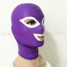 Buy Women Mans Purple Latex Hood Unisex Sexy Rubber Transvestism Cosplay Mask LM058B