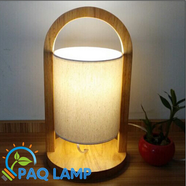 Modern table lamp wood light led light Oak wood base Cloth lamp cylindrical shade bed room Office table  lamp<br><br>Aliexpress