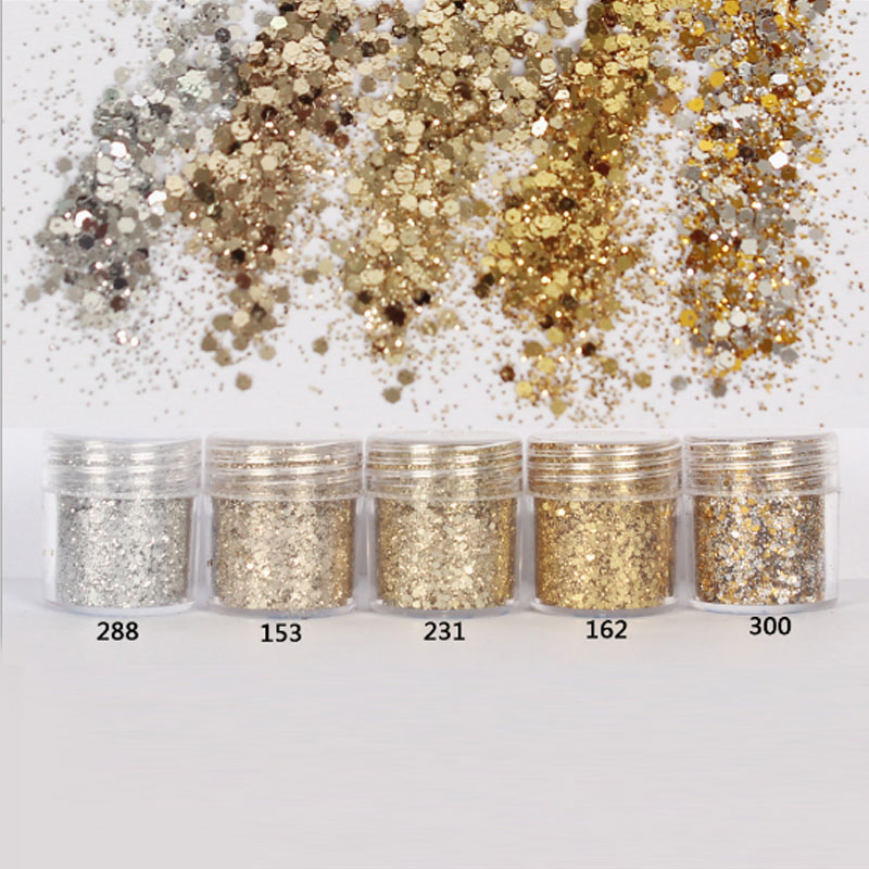 10ml Nail Art Tinsel Glitter Powder Nails Gold Paillettes Sequins Set Glitter Polish Nail Powder Spangles for Manicure SF0008(China (Mainland))