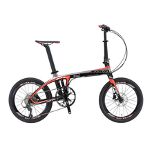 SAVA 20 inch Folding Bike T700 Carbon Fiber Frame Ultralight 9 Speed SHIMANO 3000 Derailleur Mini Compact City Tour Bike(China)