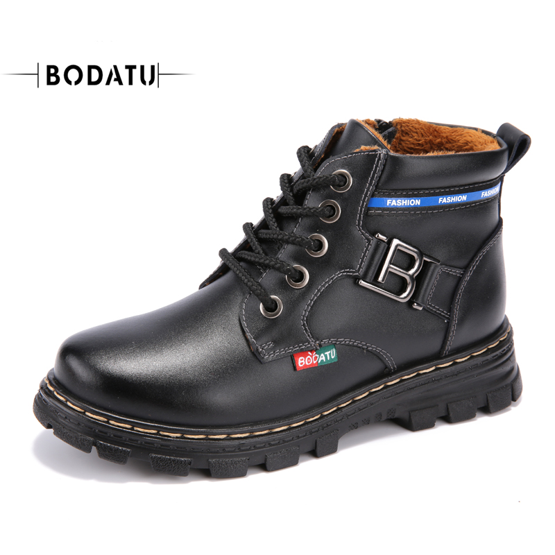 BODATU boys fashion western boots kid flat warm cool sewing high quality round toe lace-up anti-slip boots for boys L061<br>