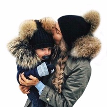 2017 Winter Mom&Newborn Faux Fur Ball Hat Baby Boy Girls Warm Double Fur Pom Pom Hat For Women and Baby Knit Beanie Hat Cap F3(China)