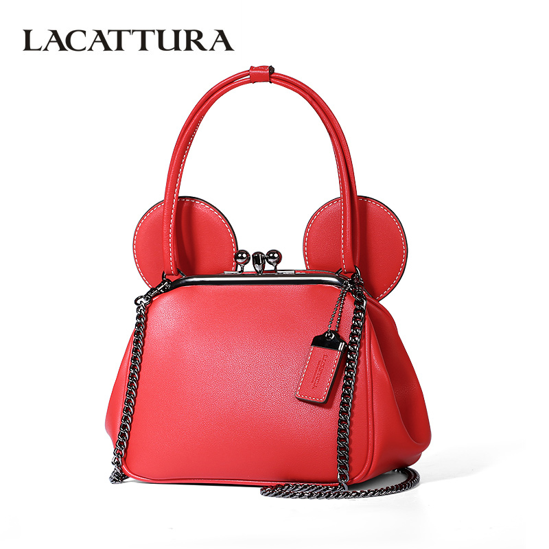 LACATTURA Lovely Tote Women Handbag Designer Wristlets PU Leather Chain Shoulder Bag Fashion Messenger Bags Crossbody for Lady<br>