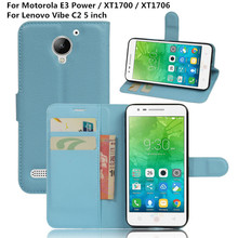 "Coque For Lenovo Vibe C2 C 2 5"" Flip Luxury PU Leather Wallet Phone Cover Case For Motorola Moto E3 Power XT1700 XT1706 Funda"