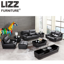 Corner Sofas Living Room Furniture Sets Miami Modern Leather Sectional Sofa Group Side Table+Coffee Table+TV Cabinet+Ottoman(China)