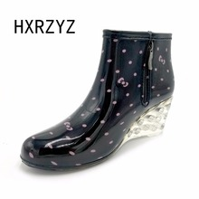 HXRZYZ Women's short rain boots high heel plus cotton disassembly rain shoes slip-resistant wedges shoes plus velvet boots
