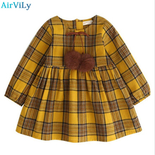 Kids Autumn 2018 Cotton Yellow Girls Clothes England Style Plaid Fur Ball Bow Design Baby Girls Long Sleeve Dress Girls Clothes(China)