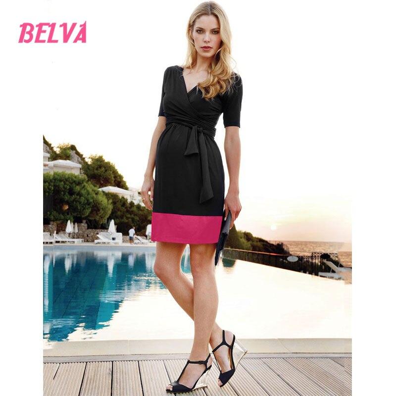 Belva Contrast short Sleeve Elastic Waist Dress maternity dresses elegant Breathable pregnancy clothes dresses summer DR933<br>