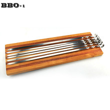 New High Stainless Steel Long BBQ Skewers Flat Meat Sticks Outdoor Barbecue Roasting Skewers BBQ Grill Tool 45cm/17.5''
