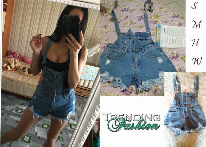 The new college wind denim strap shorts female summer hole loose Korean students was thin sling tide (25)