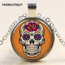 Hot! 2017 NEW Silver/Bronze Rose Flower Tattoo Skull lass Pendant Necklace Jewelry