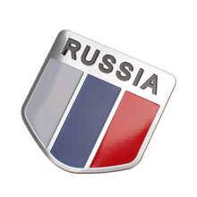 3D Aluminum Russia Flag Car Emblem Metal Sticker Badge Auto Stickers Car-Styling Car Accessories For AUDI VW FORD BMW Honda(China)