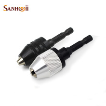 "SANHOOII 0.3-6.5mm Black Keyless Drill Chuck Screwdriver Impact Driver Adaptor  1/4"" 6.35mm Hex Shank Drill Bits Power Tools"