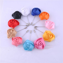 Wedding Boutonniere Floral Stain Silk Rose Flower 16 Color Available Groom Groomsman Man Pin Brooch Corsage Suit Decoration