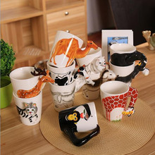 Ceramic Coffee Milk Ttea Mug 3D Animal Shape Hand Painted Deer Giraffe Cow Monkey Dog Cat Camel Elephant Horse Cup for friends