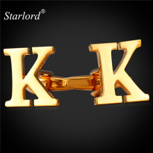 Starlord Cufflinks Cuff Buttons With Letters K For Men High Quality Gold Color Metal Wedding Shirt Cuff Links C2041(China)
