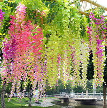 "12PCS/LOT Free Shipping 10 Colors 110CM 43.3"" Long high artificial wisteria flower silk wisteria home wedding decorative flowers"