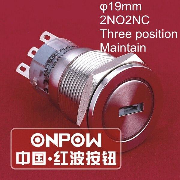 22mm 2 Posición de bloqueo con llave interruptor pulsador de teclas  Negro