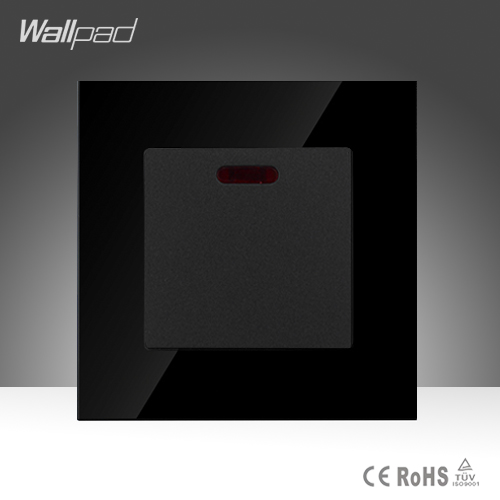 Wallpad 20A Switch Luxury Black Crystal Glass 20A Kitchen Barthroom Heater Wall Switch with Led Light,Free Shipping<br><br>Aliexpress