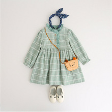 Korean Cute Little Fresh Autumn New Children Clothes Grid Black Fungus Soft Baby Girl Long Sleeve Dress Ebay Kid Dresses