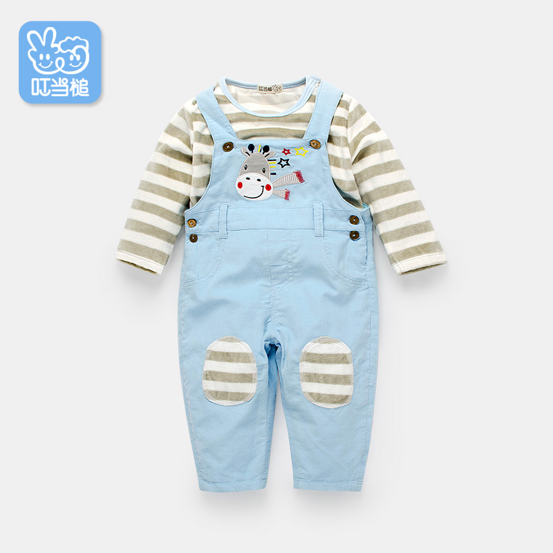 Dinstry Baby spring and autumn pants T-shirt+overalls 2pieces set of infant outerwear<br>