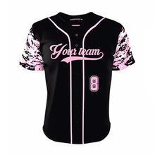 Men &Women Custom Baseball jersey Pink Camo Full Buttons Style Baseball Team Wear Exercise Shirts For Outdoor Baseball Game