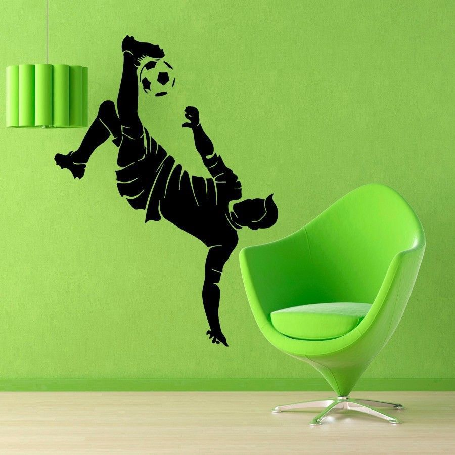Football Player Sticker Sports Soccer Decal Posters Vinyl Wall Decals Pegatina Quadro Parede Decor Mural Football Sticker