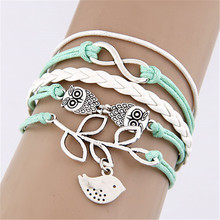 Lemon Value Vintage Punk Style Braided Owl Bird leaves Hand woven Infinite Leather Bracelet Women Jewelry D125(China)