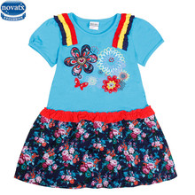 novatx H6351  kids wear high quality beautiful floral embroidery children clothes Summer bow Dresses for 2-6y baby girls dress