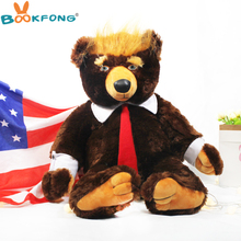 Buy 60cm Donald Trump Bear Plush Toys Cool TV USA President Trump Plush Teddy Bear Dolls US Flag Kids Friends Gift Collection for $23.00 in AliExpress store