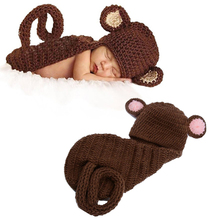 Handmade Baby Crochet Monkey Set Newborn Monkey Hat and Cover Set Infant Animal Beanie Hats Photography Props  High Qual