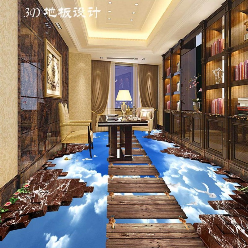 Free Shipping Sky Woodbridge Walkway Hall Living Room 3D Floor Painting wear non-slip thickened flooring wallpaper muraln<br><br>Aliexpress