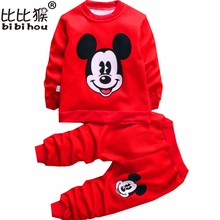new Autumn/Winter baby girls clothing sets children velvet warm clothes set kids girls cartoon coats+ pants suits Christmas suit(China)