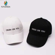 Crush On You Black Baseball Cap Snapback 2017 Dad Hats For Women Casquette Branded Hip Hop Mens Cap Gorras Unisex Bone Masculino(China)