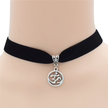Fashion Casual Hinduism Yoga Antique Silver AUM Hindu Buddhist Ohm OM Pendant Velvet leather Choker Necklace Simple Lucky Gifts