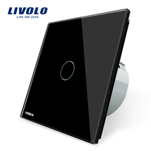 Livolo EU standard Wall Light Touch Switch, AC 220~250V , VL-C701-12, Black Crystal Glass Switch Panel(China)