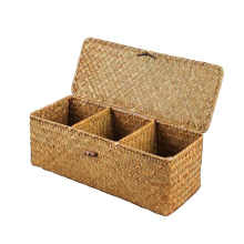 Wicker Storage Baskets Hand Woven Rectangle Tea Bags Storage Box Chest Wooden Organizer Compartments Display Multi-purpos box