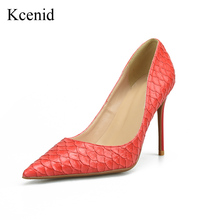 Kcenid 2018 Hot sales women pumps sexy high heels shoes top quality snake pattern design patent leather wedding shoes big size46(China)