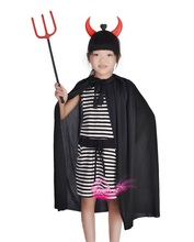Halloween Children stage performing clothing kids Devil, party pirate, zorro cosplay costume hat+cloak+weapons set