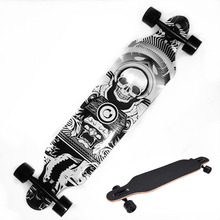 Professional Skull Pattern Skateboard Children Road Longboard Skid Resistance Skate Board 4 Wheels Downhill Street Long Board(China)