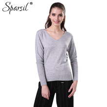 Sparsil Women Winter Big V-Neck Cashmere Sweater Cashmere Knitted Pullover Lady Autumn Long Sleeve Soft Christmas Knitwear 4XL
