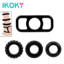 Buy IKOKY 4 Pieces/set Penis Rings Foreskin Cock Ring Penis Enlargement Sleeve Sex Toys Men Extender Ring Delayed Ejaculation