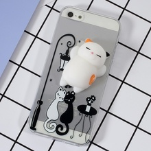 i5s iSE i5 i6 i6s Squishy 3D Silicone Cat Cover TPU Phone Case for Apple iPhone SE 5s 5 6 6s 7 Plus Back Cases